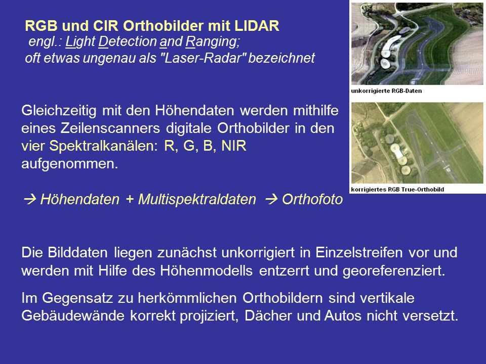 RGB und CIR Orthobilder mit LIDAR engl
