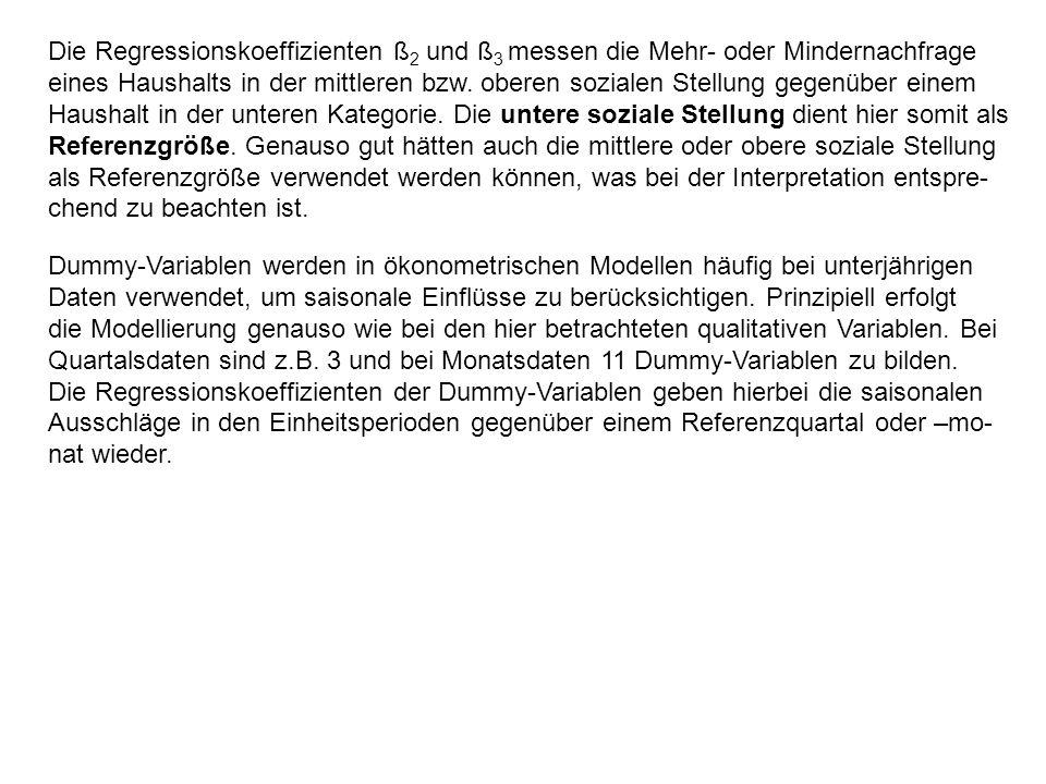 Die Regressionskoeffizienten ß2 und ß3 messen die Mehr- oder Mindernachfrage