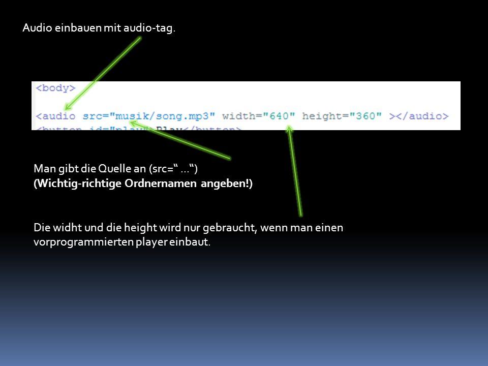 Audio einbauen mit audio-tag.