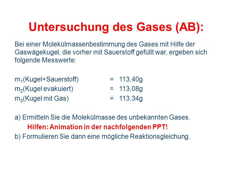 Untersuchung des Gases (AB):
