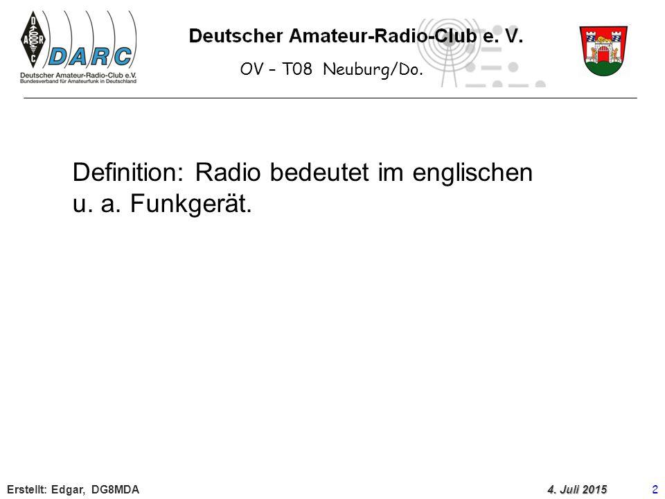 Definition: Radio bedeutet im englischen u. a. Funkgerät.