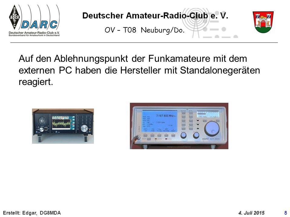 OV – T08 Neuburg/Do. Auf den Ablehnungspunkt der Funkamateure mit dem externen PC haben die Hersteller mit Standalonegeräten reagiert.