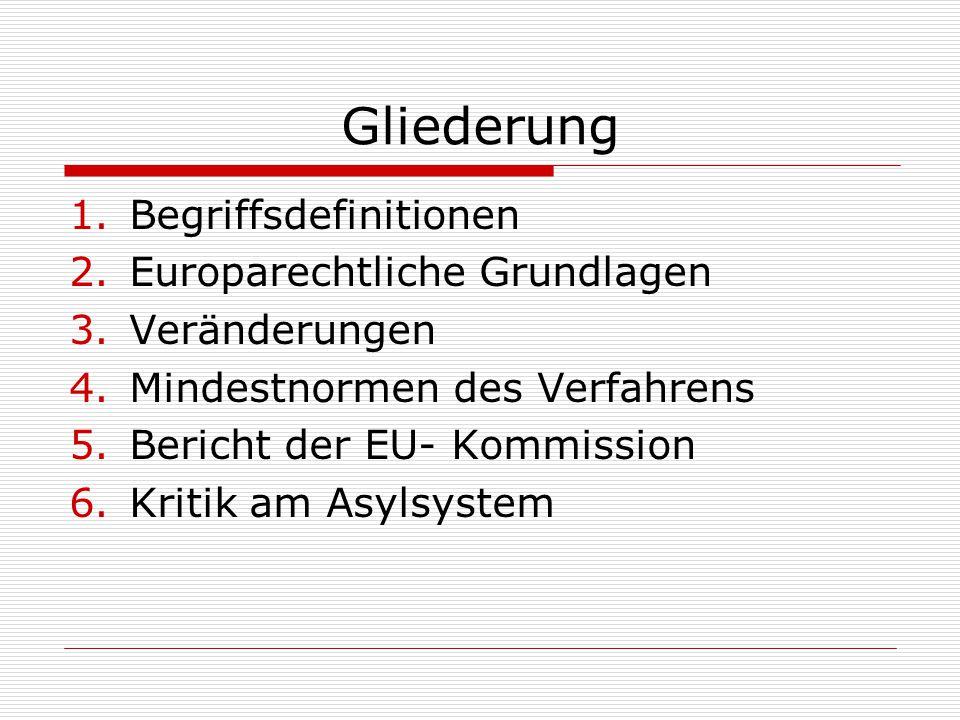 Gliederung Begriffsdefinitionen Europarechtliche Grundlagen