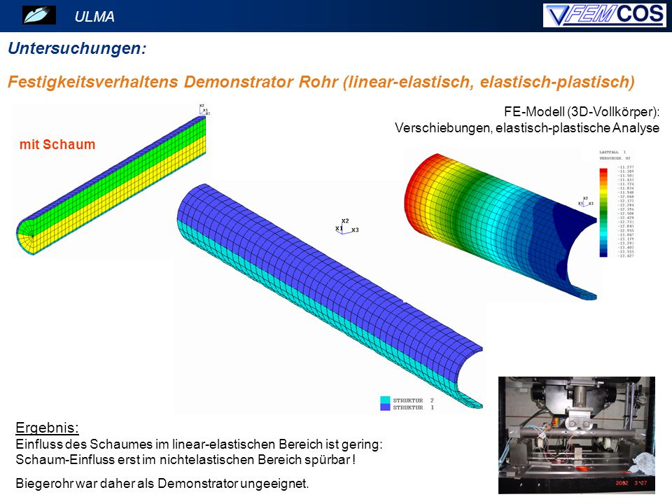 ULMA Untersuchungen: Festigkeitsverhaltens Demonstrator Rohr (linear-elastisch, elastisch-plastisch)