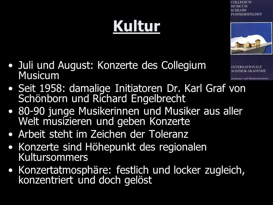 Kultur Juli und August: Konzerte des Collegium Musicum
