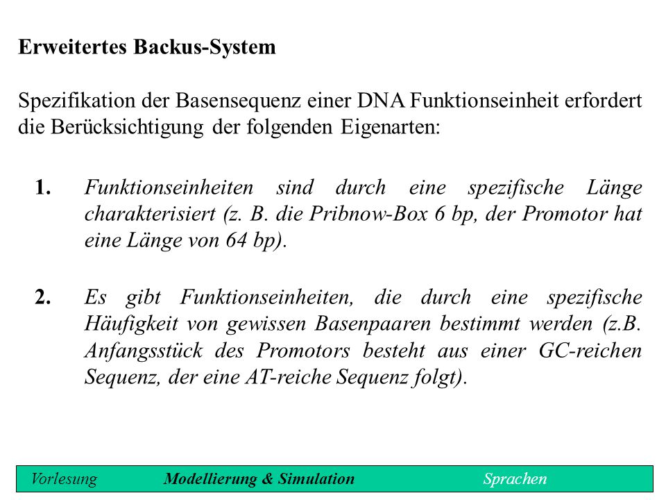 Erweitertes Backus-System