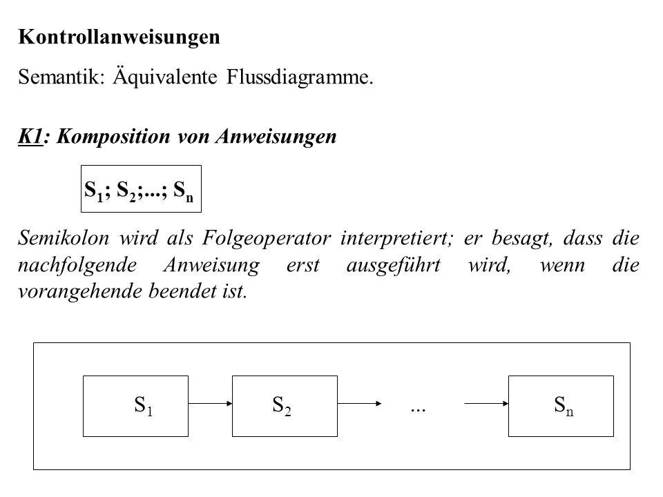 Kontrollanweisungen Semantik: Äquivalente Flussdiagramme. K1: Komposition von Anweisungen. S1; S2;...; Sn.