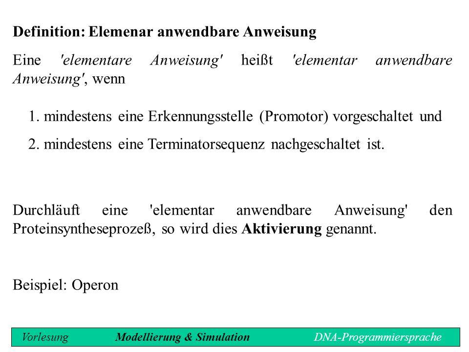Definition: Elemenar anwendbare Anweisung