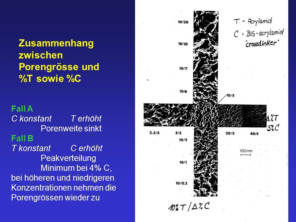 Zusammenhang zwischen Porengrösse und %T sowie %C