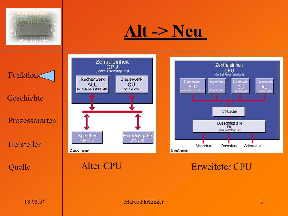 Alt -> Neu Alter CPU Erweiteter CPU 18.03.07 Marco Flickinger