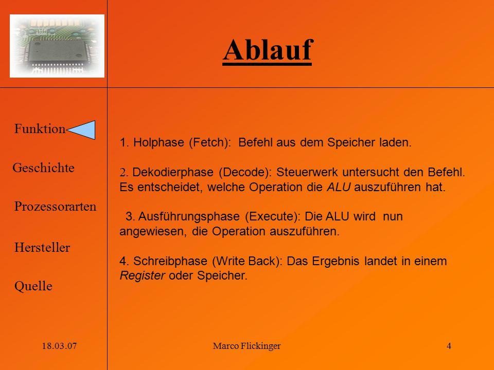 Ablauf 1. Holphase (Fetch): Befehl aus dem Speicher laden.