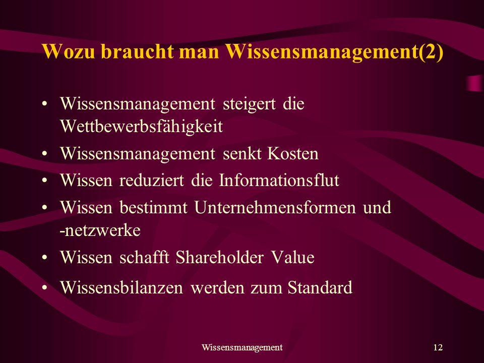 Wozu braucht man Wissensmanagement(2)
