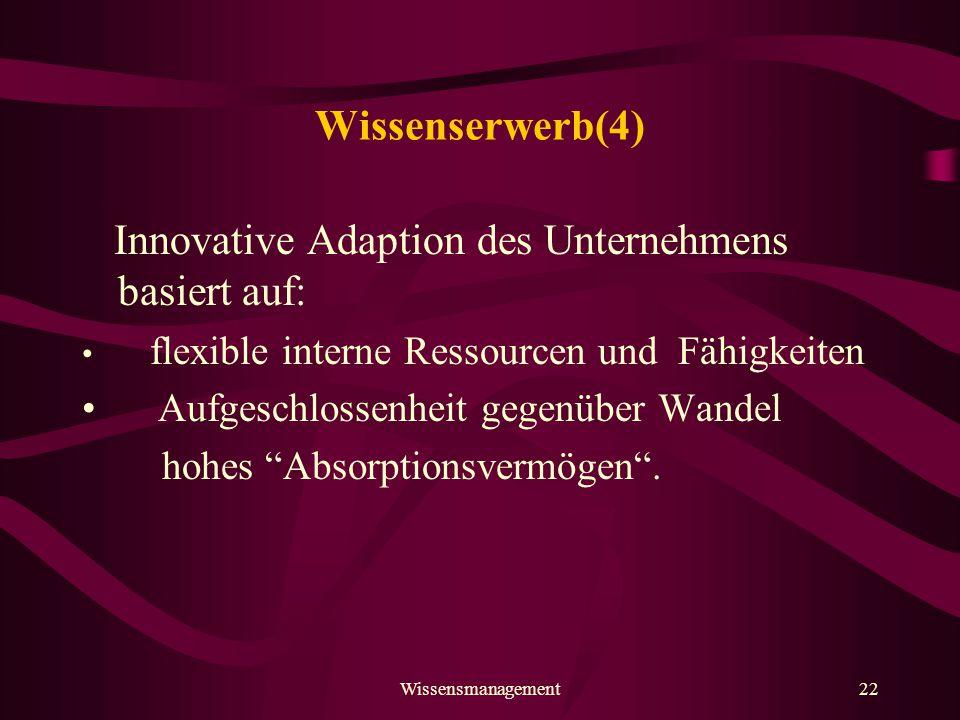 Innovative Adaption des Unternehmens basiert auf: