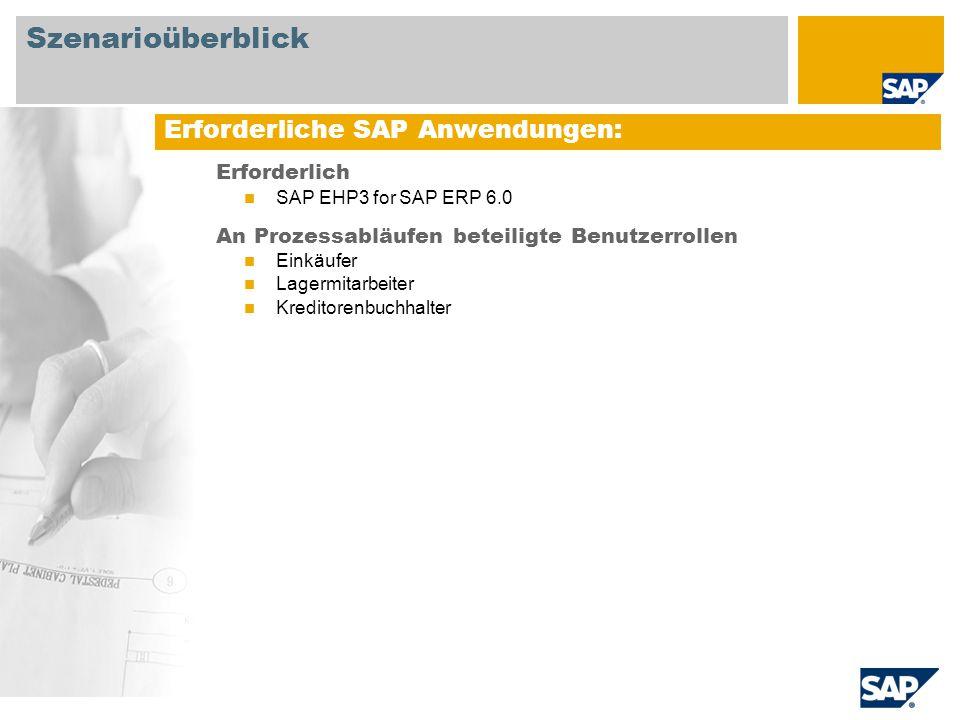 Szenarioüberblick Erforderliche SAP Anwendungen: Erforderlich