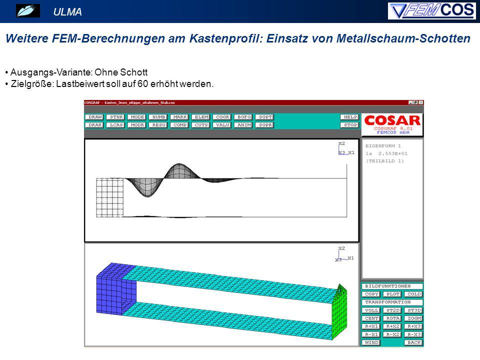 ULMA Weitere FEM-Berechnungen am Kastenprofil: Einsatz von Metallschaum-Schotten. Ausgangs-Variante: Ohne Schott.