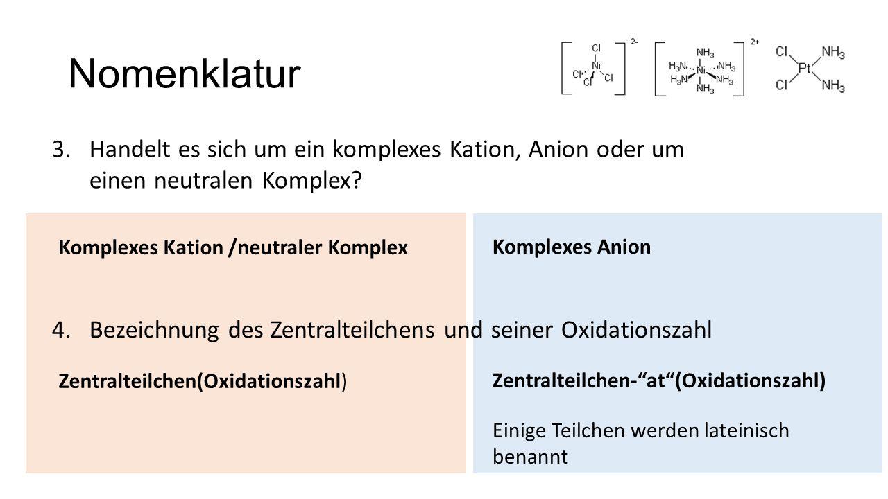 Nomenklatur Handelt es sich um ein komplexes Kation, Anion oder um einen neutralen Komplex Komplexes Kation /neutraler Komplex.