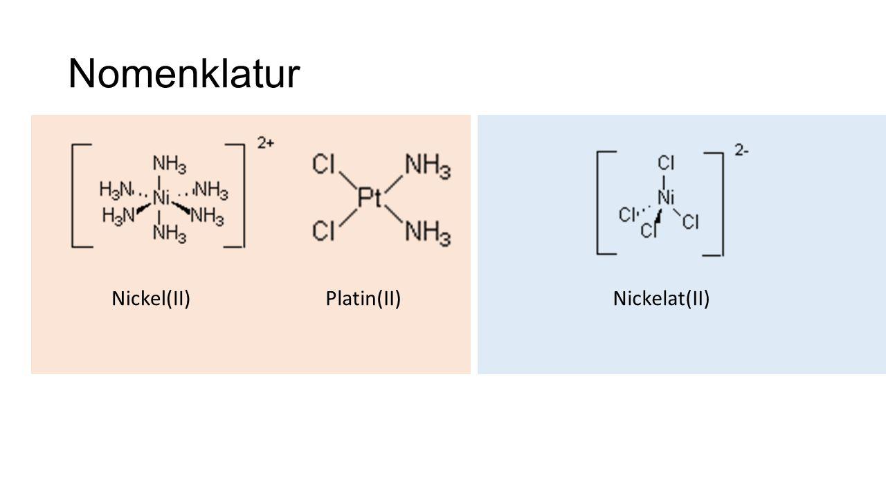 Nomenklatur Nickel(II) Platin(II) Nickelat(II)