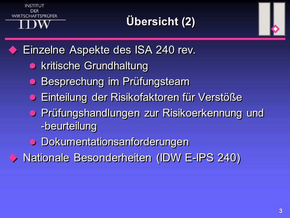 Einzelne Aspekte des ISA 240 rev.