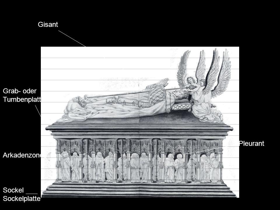 Gisant Grab- oder Tumbenplatte Pleurant Arkadenzone Sockel Sockelplatte