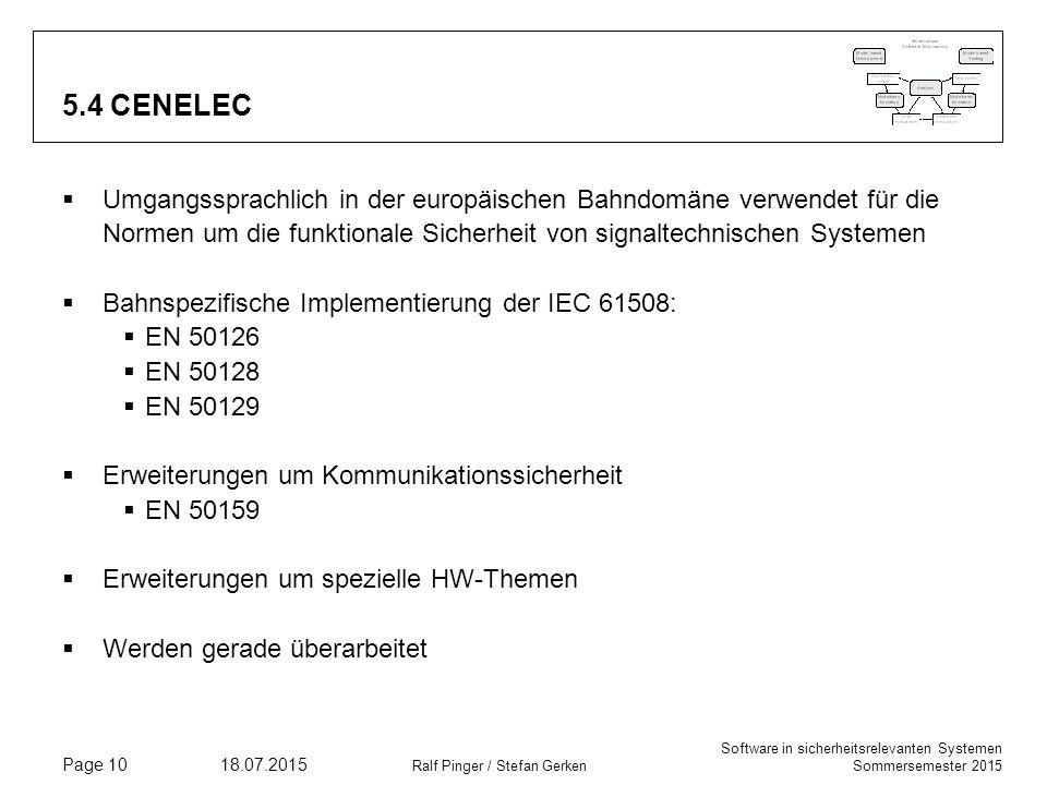 5.4 CENELEC Umgangssprachlich in der europäischen Bahndomäne verwendet für die Normen um die funktionale Sicherheit von signaltechnischen Systemen.