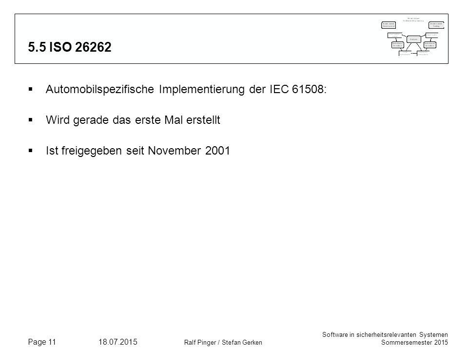 5.5 ISO 26262 Automobilspezifische Implementierung der IEC 61508:
