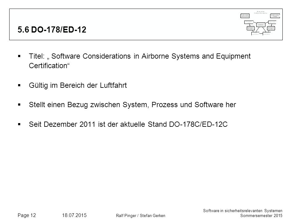 "5.6 DO-178/ED-12 Titel: "" Software Considerations in Airborne Systems and Equipment Certification Gültig im Bereich der Luftfahrt."
