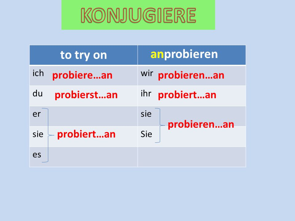 KONJUGIERE to try on an anprobieren probiere…an probieren…an