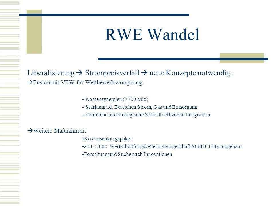 RWE Wandel Liberalisierung  Strompreisverfall  neue Konzepte notwendig : Fusion mit VEW für Wettbewerbsvorsprung: