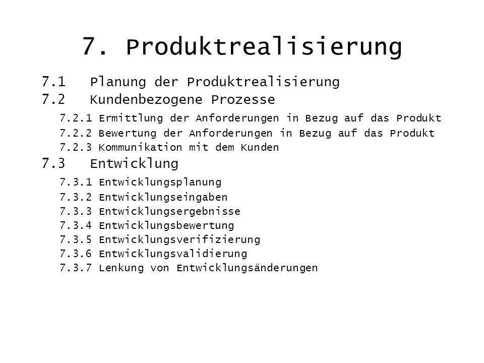 7. Produktrealisierung 7.1 Planung der Produktrealisierung