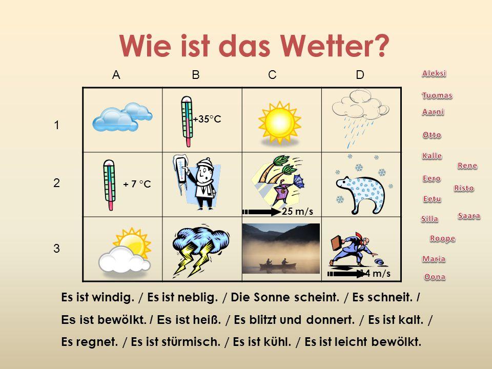 Wie ist das Wetter A B C D. Aleksi. Tuomas.
