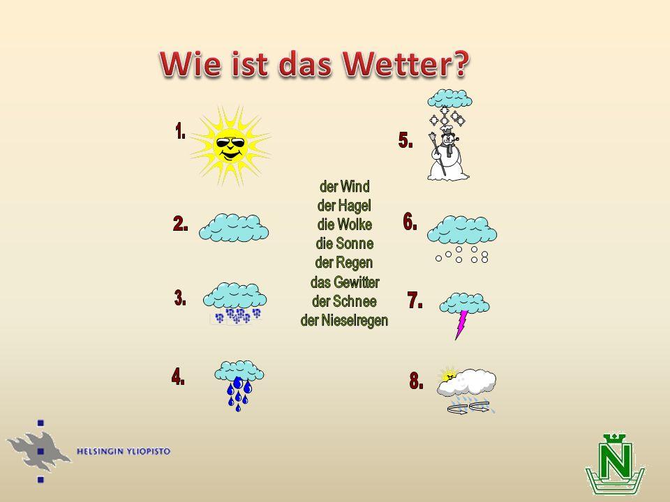 Wie ist das Wetter 1. 2. 3. der Wind der Hagel die Wolke die Sonne