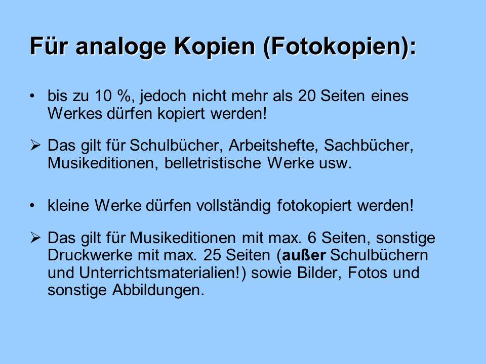 Für analoge Kopien (Fotokopien):