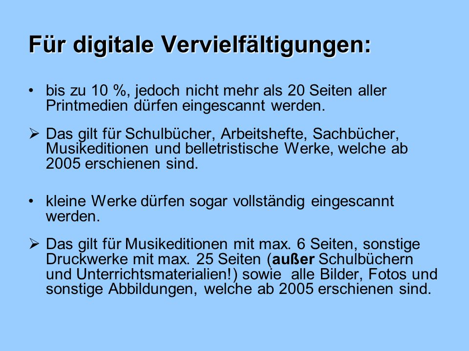 Für digitale Vervielfältigungen: