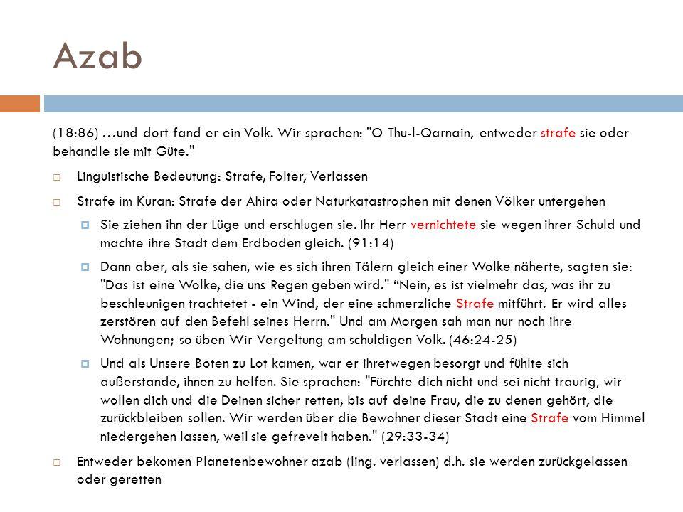 Azab (18:86) …und dort fand er ein Volk. Wir sprachen: O Thu-l-Qarnain, entweder strafe sie oder behandle sie mit Güte.