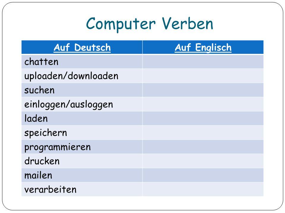 Computer Verben Auf Deutsch Auf Englisch chatten uploaden/downloaden