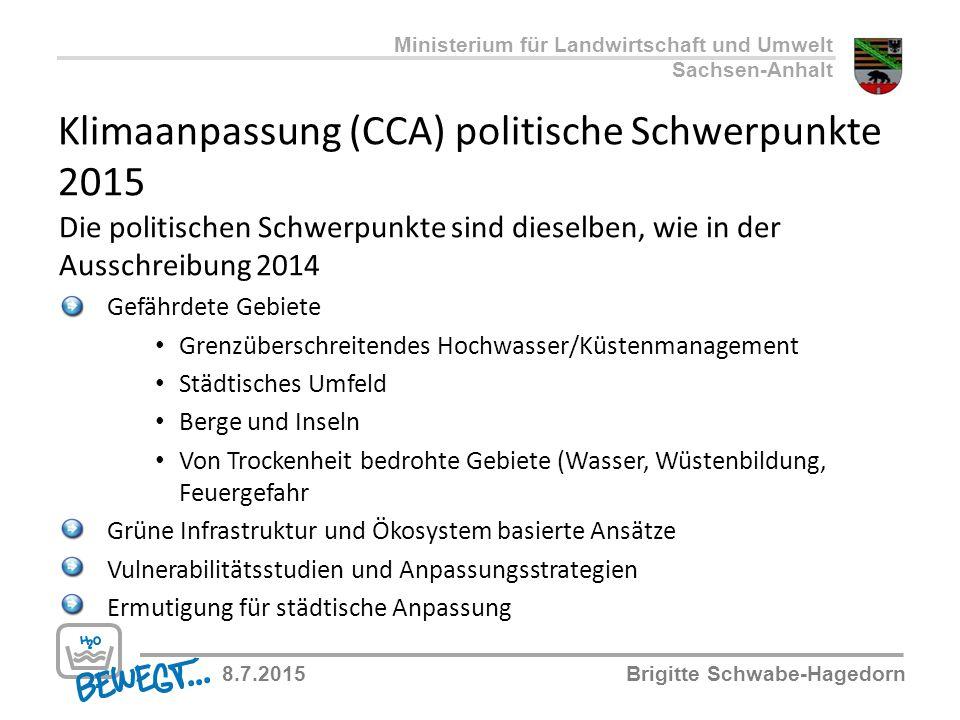 Klimaanpassung (CCA) politische Schwerpunkte 2015