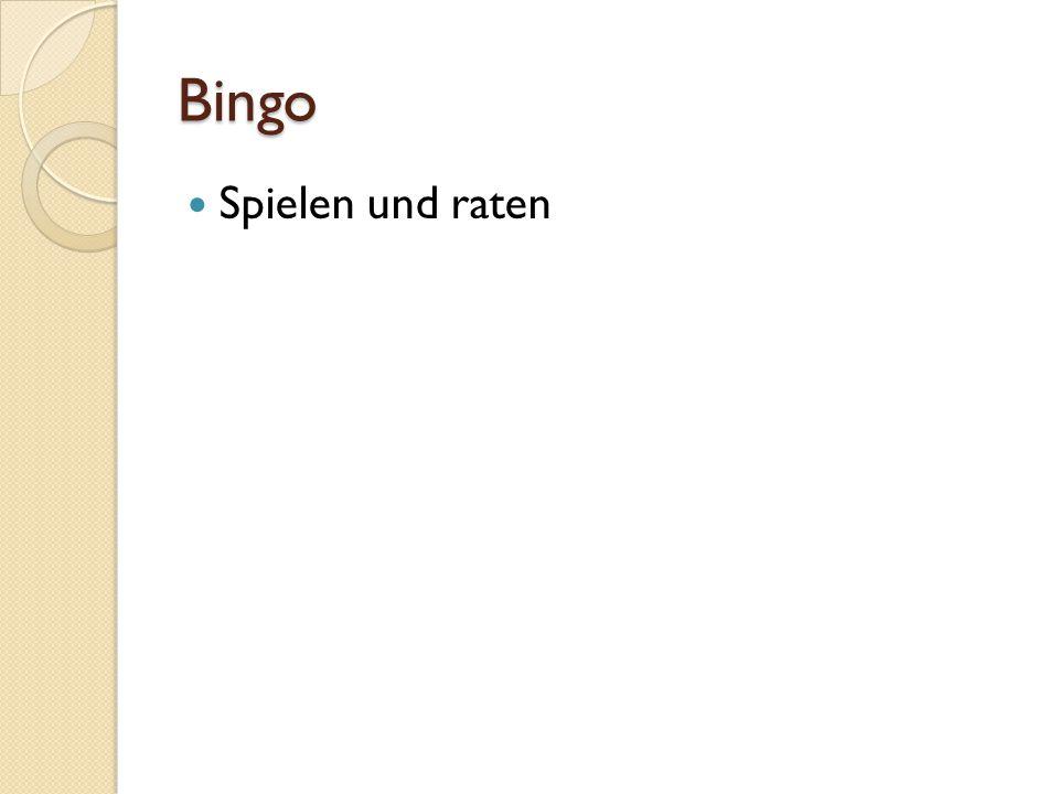 Bingo Spielen und raten