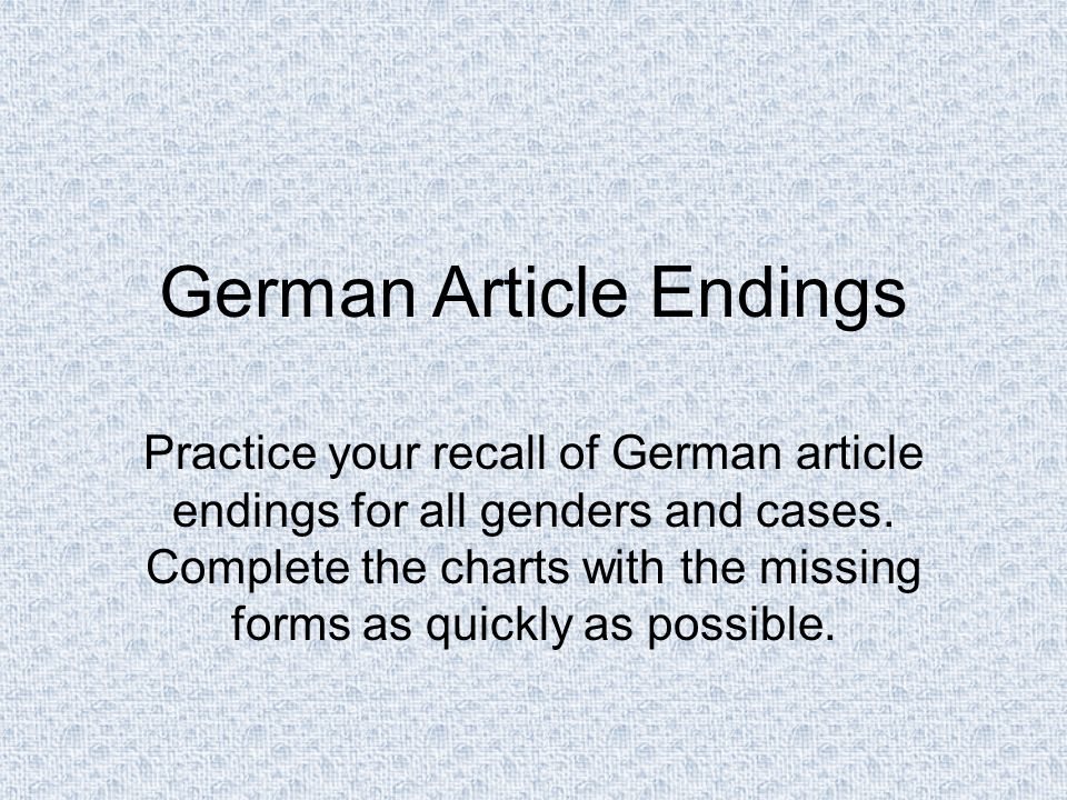 German Article Endings