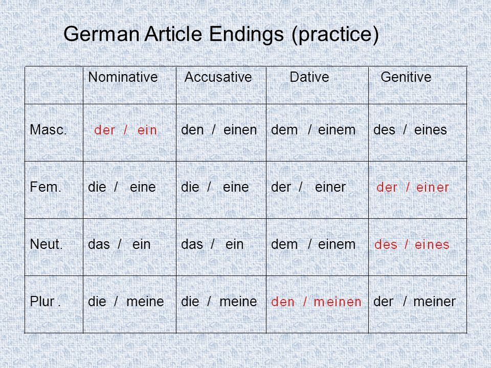 German Article Endings (practice)