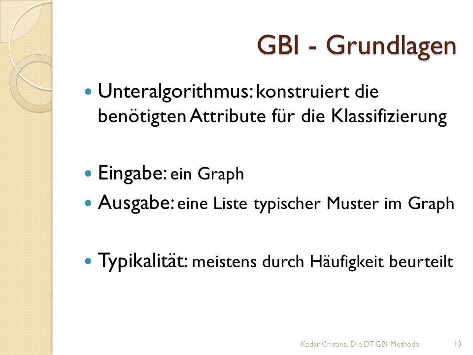GBI - Grundlagen Unteralgorithmus: konstruiert die benötigten Attribute für die Klassifizierung. Eingabe: ein Graph.