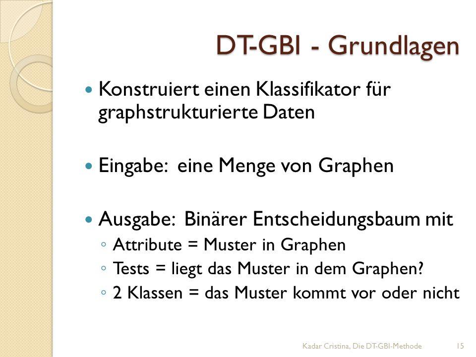 DT-GBI - Grundlagen Konstruiert einen Klassifikator für graphstrukturierte Daten. Eingabe: eine Menge von Graphen.