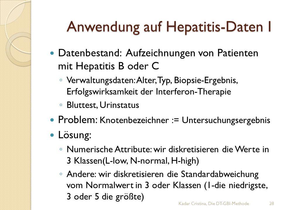 Anwendung auf Hepatitis-Daten I