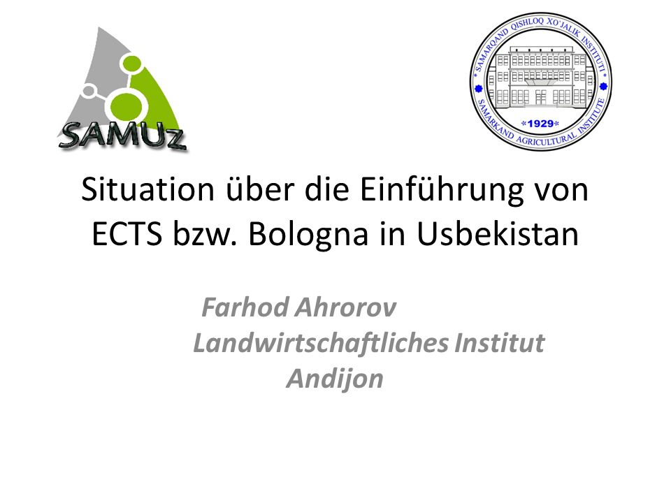 Situation über die Einführung von ECTS bzw. Bologna in Usbekistan