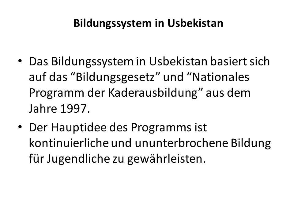 Bildungssystem in Usbekistan