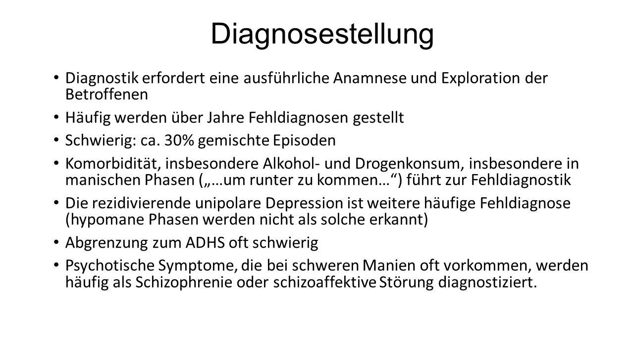 Diagnosestellung Diagnostik erfordert eine ausführliche Anamnese und Exploration der Betroffenen. Häufig werden über Jahre Fehldiagnosen gestellt.