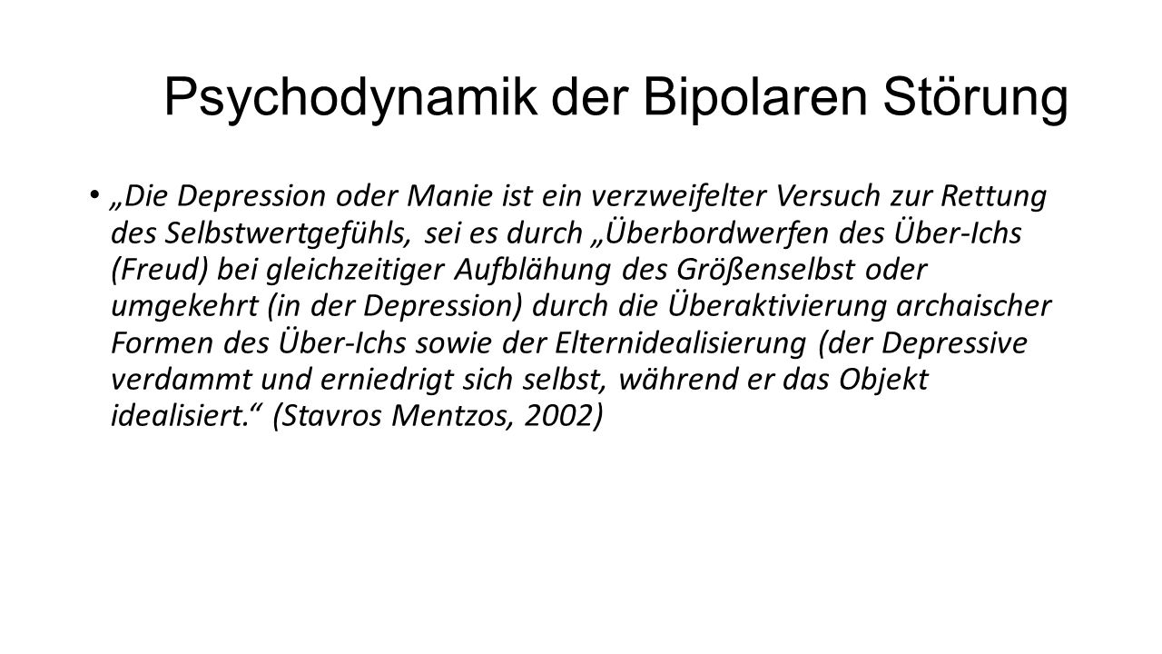 Psychodynamik der Bipolaren Störung