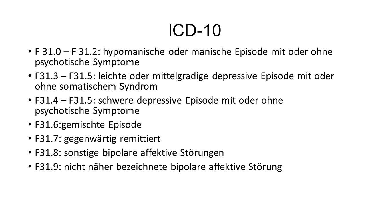 ICD-10 F 31.0 – F 31.2: hypomanische oder manische Episode mit oder ohne psychotische Symptome.