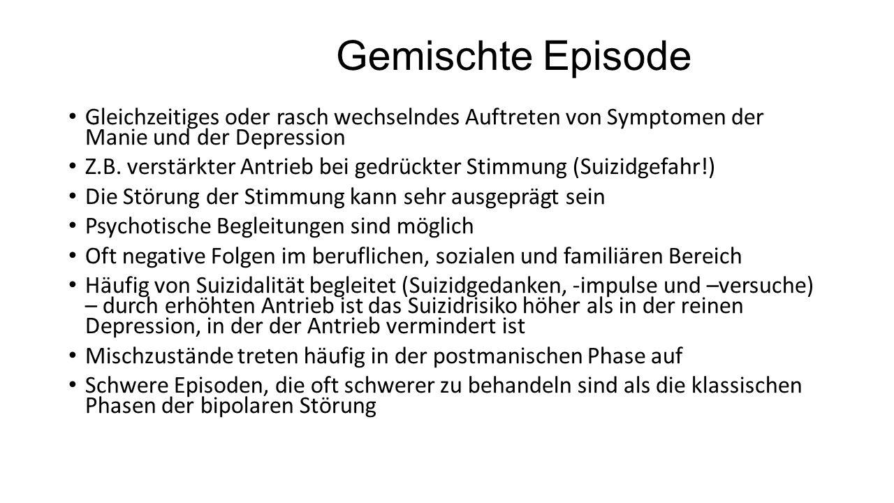 Gemischte Episode Gleichzeitiges oder rasch wechselndes Auftreten von Symptomen der Manie und der Depression.