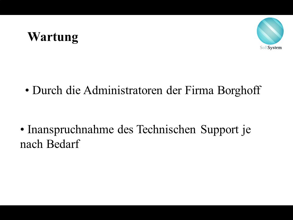 Wartung Durch die Administratoren der Firma Borghoff