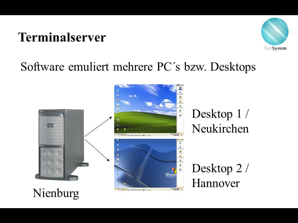 Terminalserver Software emuliert mehrere PC´s bzw. Desktops